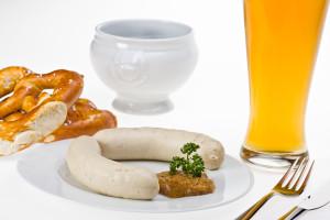 Veal Sausage, Mustard, Pretzel, German Weissbier