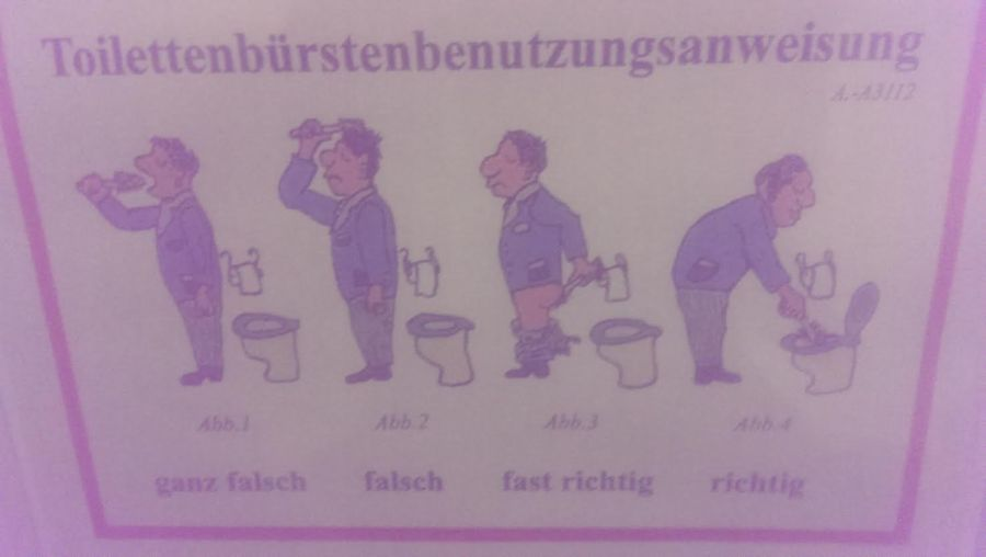 Toiletbrushuseinstructions. ( L to R) Completely wrong. Wrong. Almost correct. Correct.