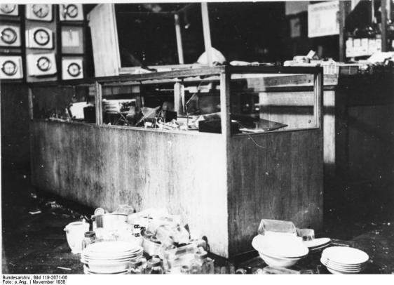 Destruction at a Jewish owned department store in Munich.