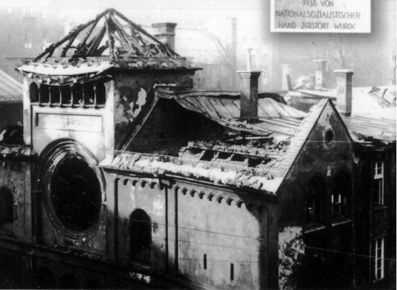 Destroyed synagogue Ohel Yaaqov, in Munich. There is a plaque  today commemorating this woeful act behind the Oberpollinger store in Munich.