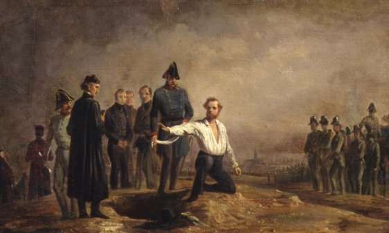 The execution of Robert Blum, by the emperor's troops. Blum became a martyr for the cause of a unified Germany.